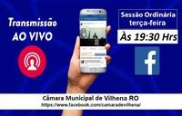 Acompanhe ao vivo as sessões ordinárias pelo Facebook